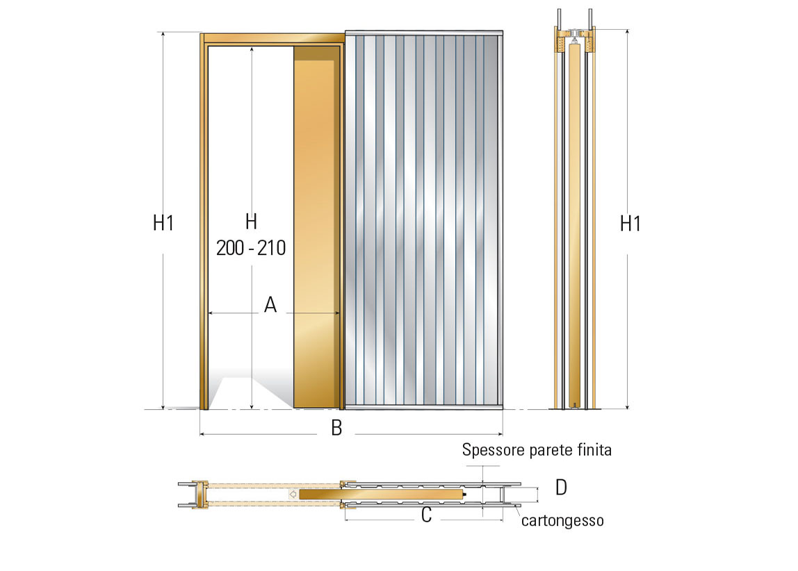 Porta Scrigno 60 Cm scheda prodotto: orchidea, telaio anta singola per